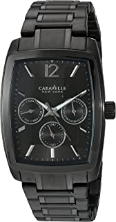 Caravelle New York Mens Quartz Stainless Steel Casual Watch, Color:Black (Model: