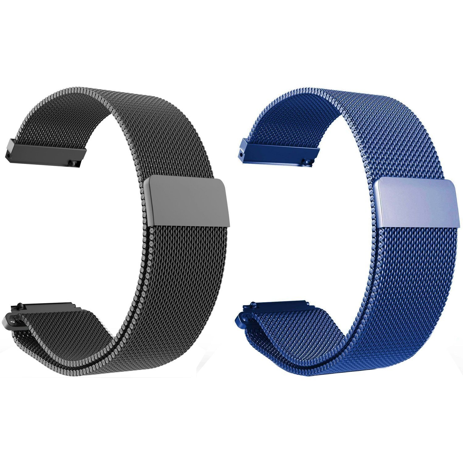 Set of 2 Turnwin Replacement Metal Milanese LOOP Bands for Amazfit PACE GPS Running Smartwatch (Black+Blue)