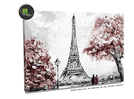 Isabel London Canvas Wall Art Prints. Couples Walking In Street Of Eiffel  Tower In Paris