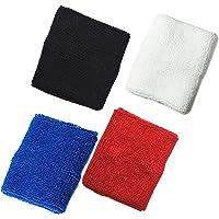 4par negro/blanco/azul/rojo algodón deportes Baloncesto pulsera muñequeras muñeca