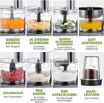 Decen Robot de cocina multifunción 1100 W, 3 velocidades, 11 en 1, picadora eléctrica, batidora, prensa de cítricos, molinillo de café, bol de 3,5 L, vaso de 1,5 L, color plateado: Amazon.es: Hogar