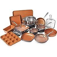 Gotham Steel 20 Piece Pots & Pans Set Complete Kitchen Cookware + Bakeware Set   Nonstick Ceramic Copper Coating…