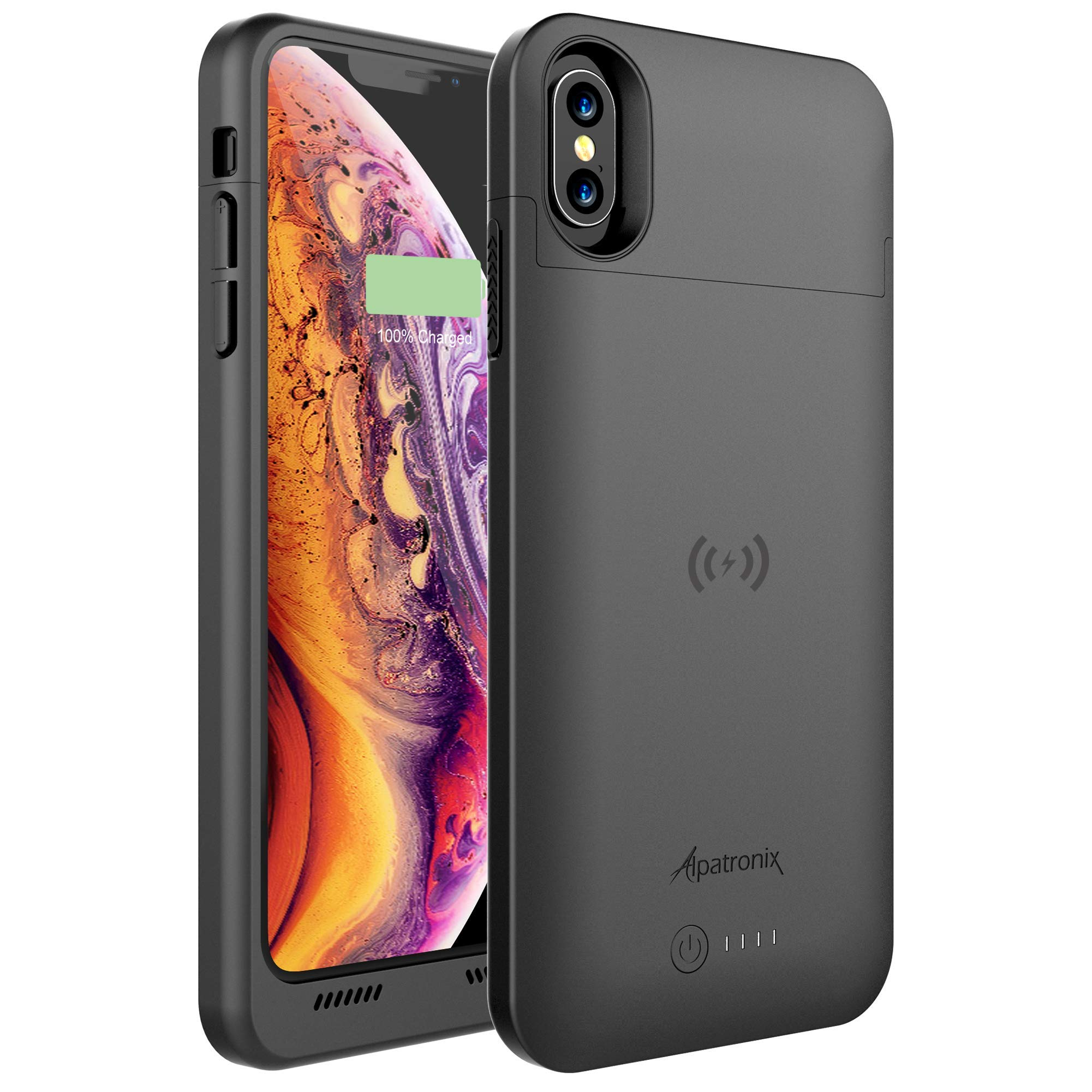 Alpatronix iPhone Xs Max Battery Case, 5000mAh Slim Portable Protective Extended Charger Cover with Qi Wireless Charging Compatible with iPhone Xs Max (6.5 inch) BXX Max - (Black) by Alpatronix