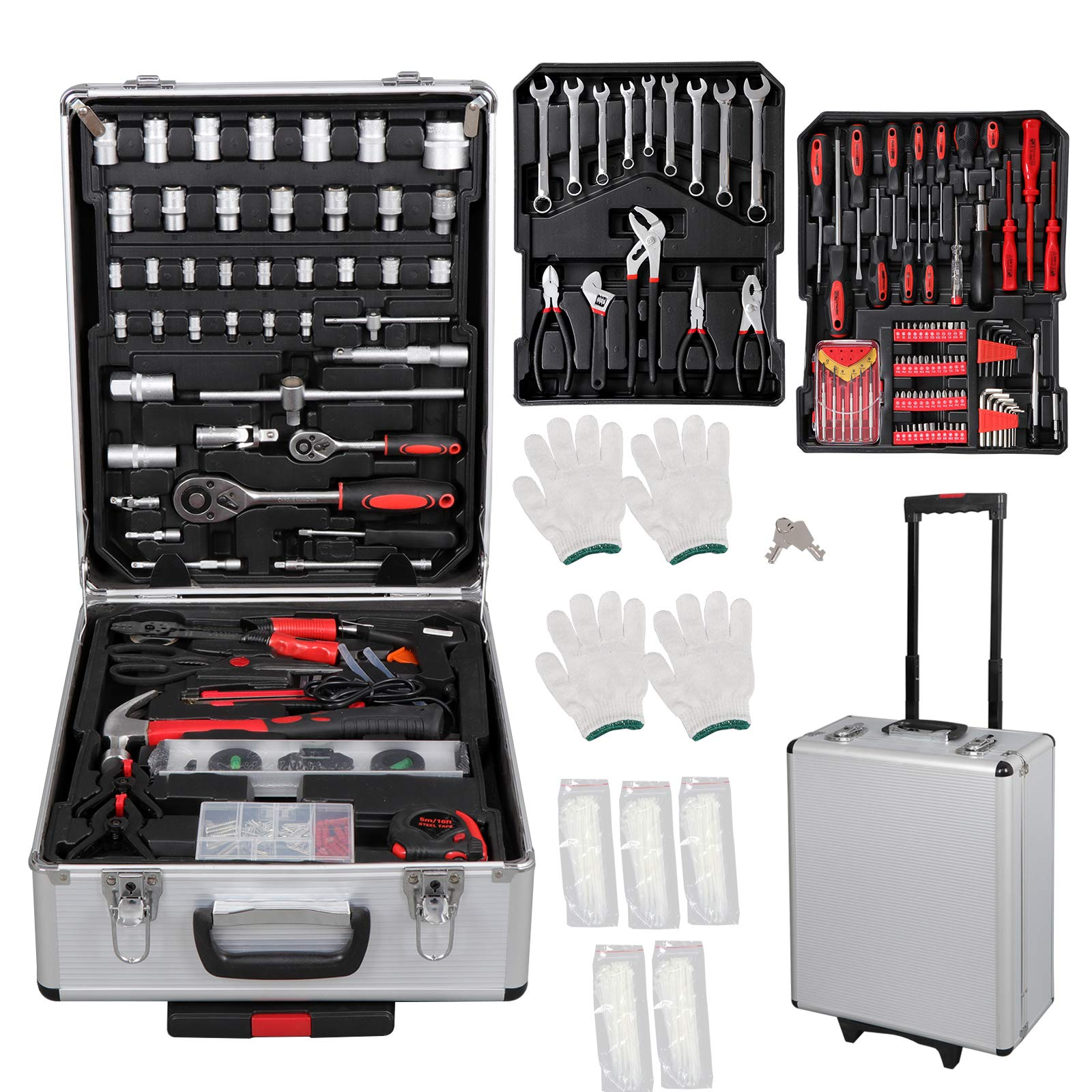F2C 799-Piece Pro/Home DIY Mechanics Hand Tool Kit Set Auto General Repair Tools W/Aluminum Portable Trolley Storage Wheeled Case Tool Chest Box Organizer