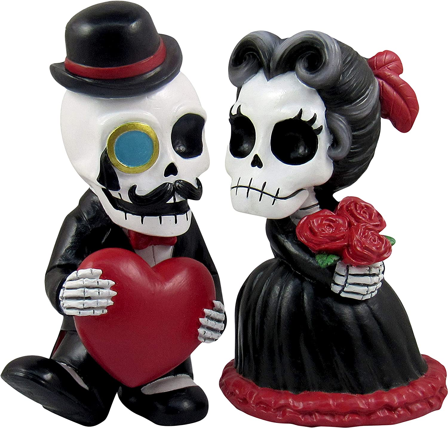 DWK - Sir Coffinswood & Lady Casket - Adorable Hand-Painted Skeleton Couple Collectible 2-Piece Figurine Set Victorian Gothic Lovers Halloween Decorations Romantic Gift Home Decor Accent, 5.5-inch
