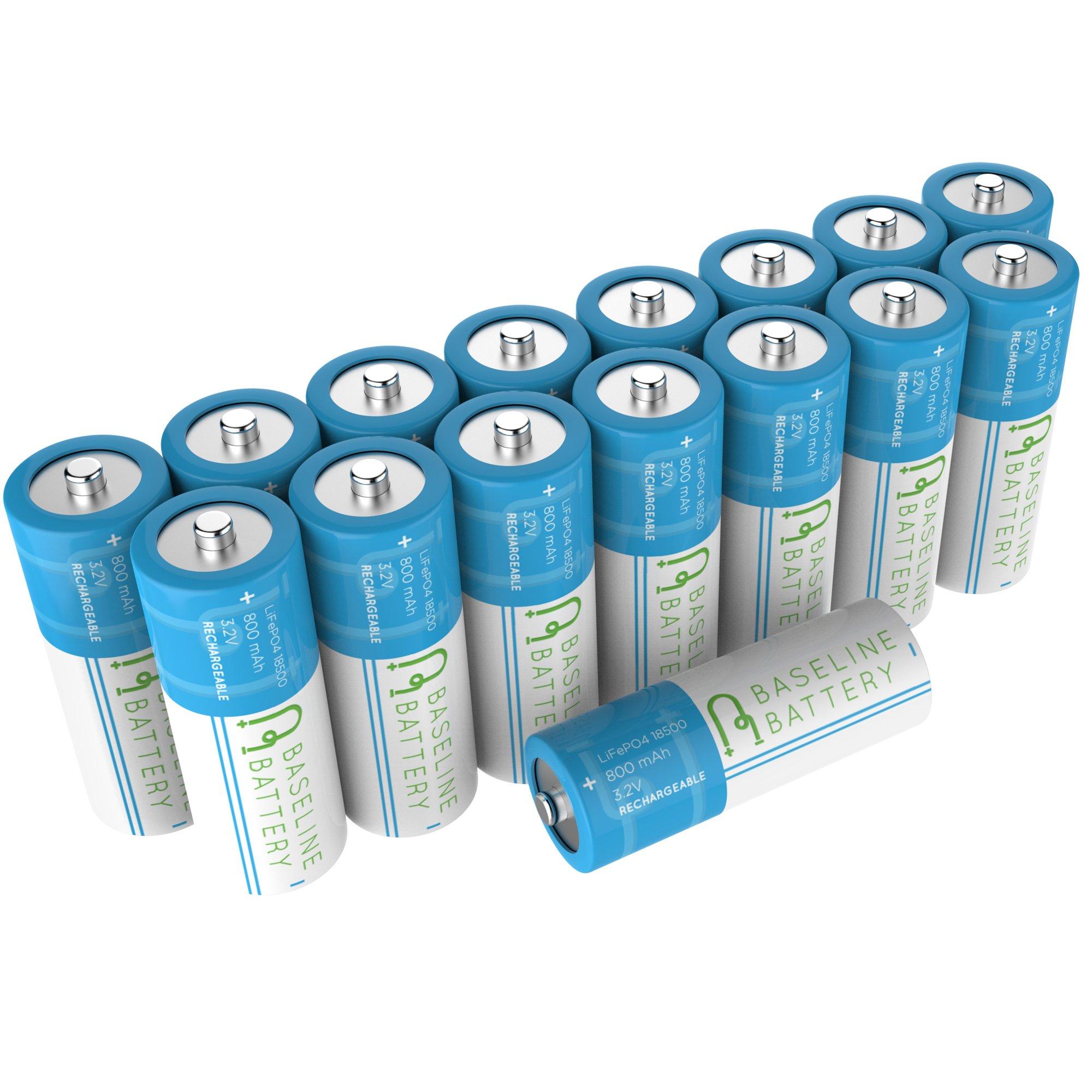 16 Baseline Battery 800 mAh IFR 18500 3.2v LiFePO4 Lithium Phosphate Rechargeable Batteries Solar Garden Light