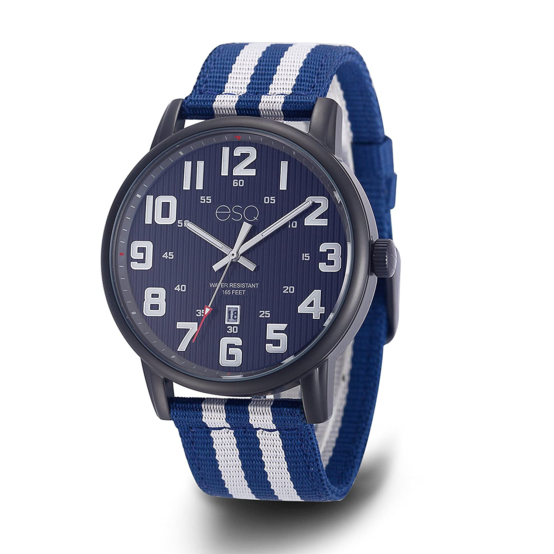 ESQ e262ステンレススチールBlack IP Watch、3針日付ウィンドウ、ブルーダイヤル、NATOストラップ B07DCXCVSZ