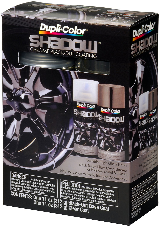Dupli-Color (ESHD10007-2 PK) Black/Clear Chrome Black-Out Coating 2-Can Aerosol Kit - 11 oz., (Case of 2)
