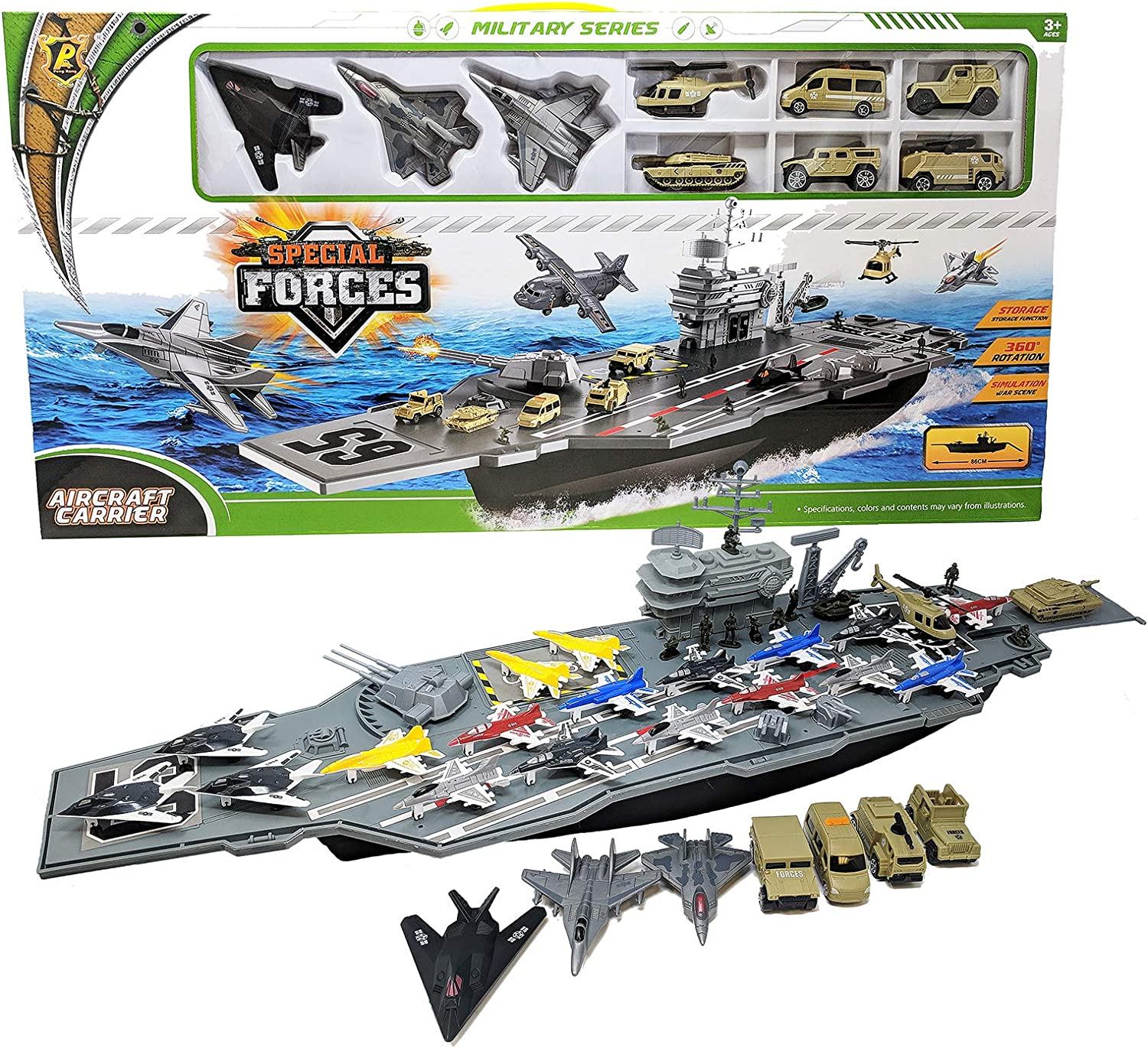 30 Aircraft Carrier Toy Playset with Sound Effects and Fighter Jets