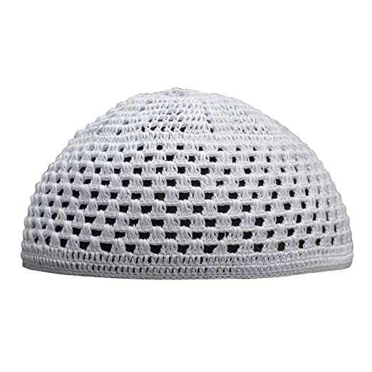 952196d6532 Hand-Crocheted Cotton White Skull Cap Open Weave Design Comfortable Head  Cover (XXS)