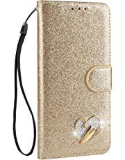 ZCXG Compatible with Samsung Galaxy A5 2017 A520 Case Leather Wallet Phone Case Glitter Bling Luxury Shockproof Case Gold Love Diamond Flip Stand Shell PU Leather Case Phone Protective