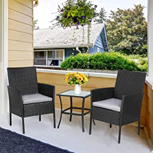 Vongrasig 3-Piece Porch Furniture Sets, Small Outdoor Black Wicker Rattan Patio Bistro Set, Cushioned Patio Chairs Set of 2 w/Glass Table for Lawn Garden Backyard Patio Conversation Set, Gray
