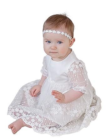 Amazon.com: BuyBro Cute Lace Christening Gowns Baptism Dedication ...