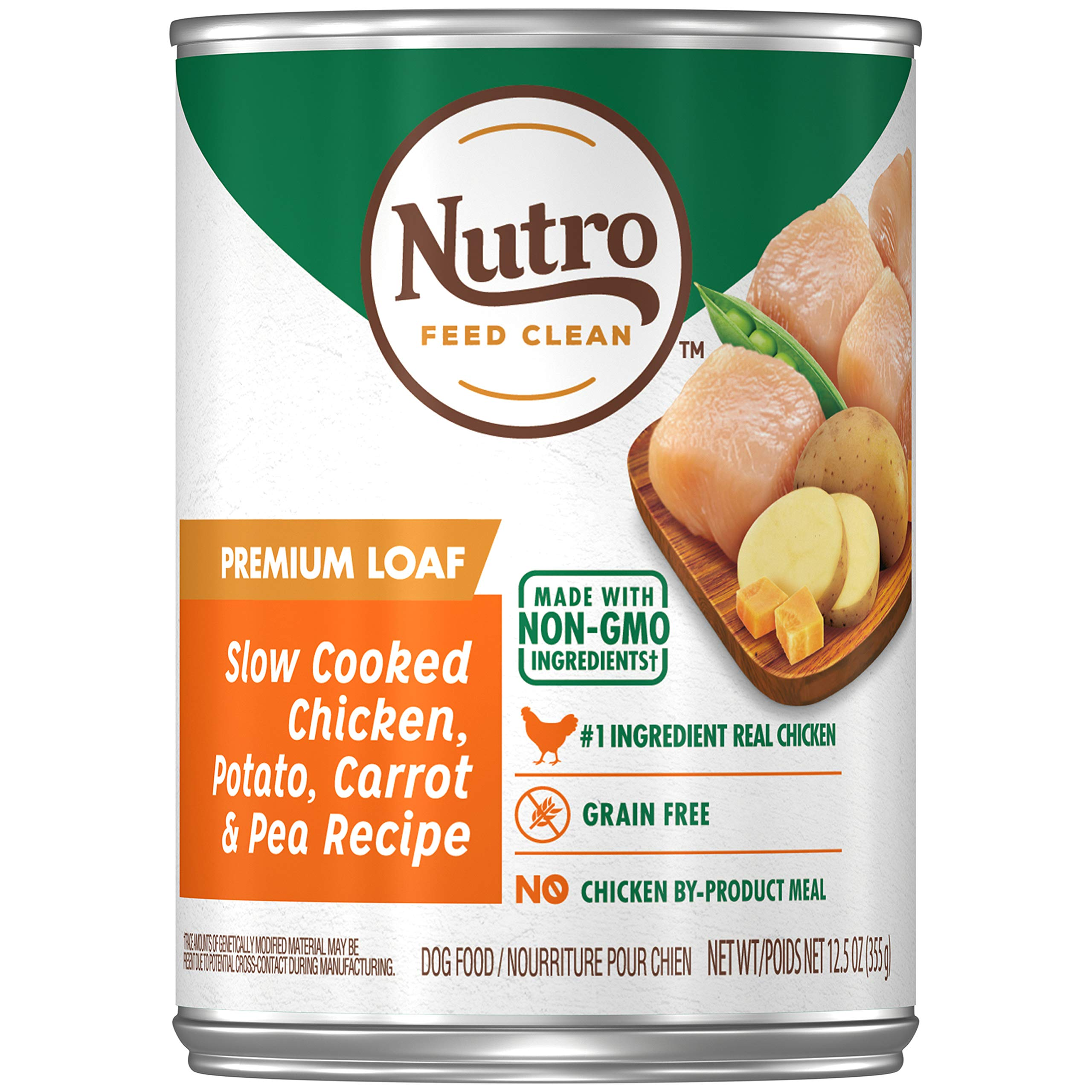 NUTRO PREMIUM LOAF Adult High Protein Natural Wet Dog Food Slow Cooked Chicken, Potato, Carrot & Pea Recipe, (12) 12.5 oz. Cans by Nutro