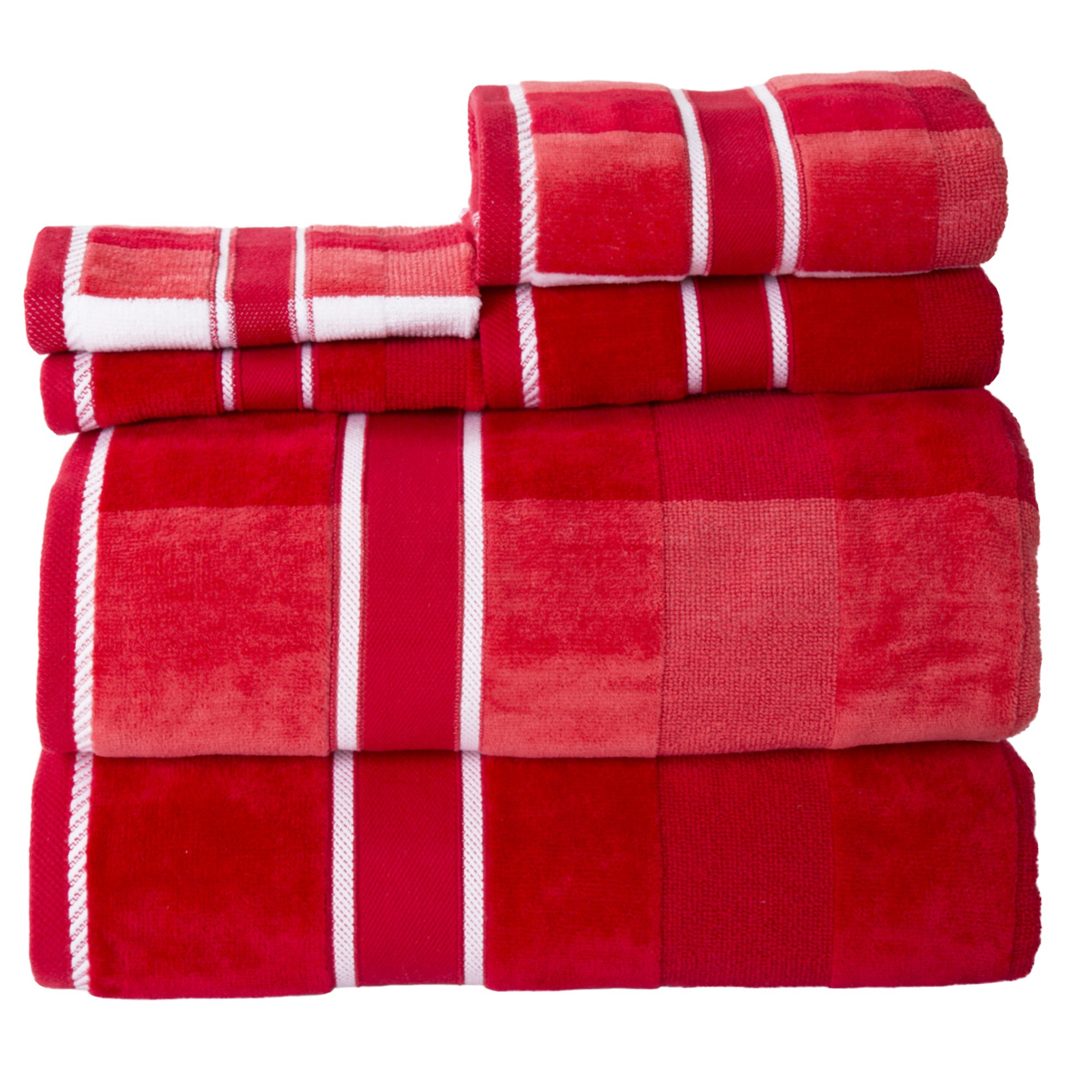 Lavish Home 100% Cotton Oakville Velour 6 Piece Towel Set-Red