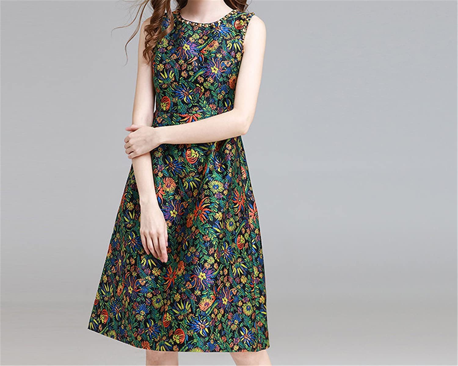 Amazon.com: GBBTR Fashion Womens Elegant Sleeveless Casual Party Floral Print Vintage Knee Length Dress: Clothing
