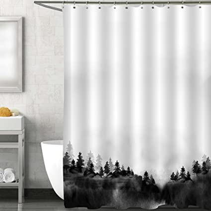 MitoVilla Chinese Decorations For Asian Themed Home Room Traditional Hand Drawn Watercolor Forest Shower Curtain