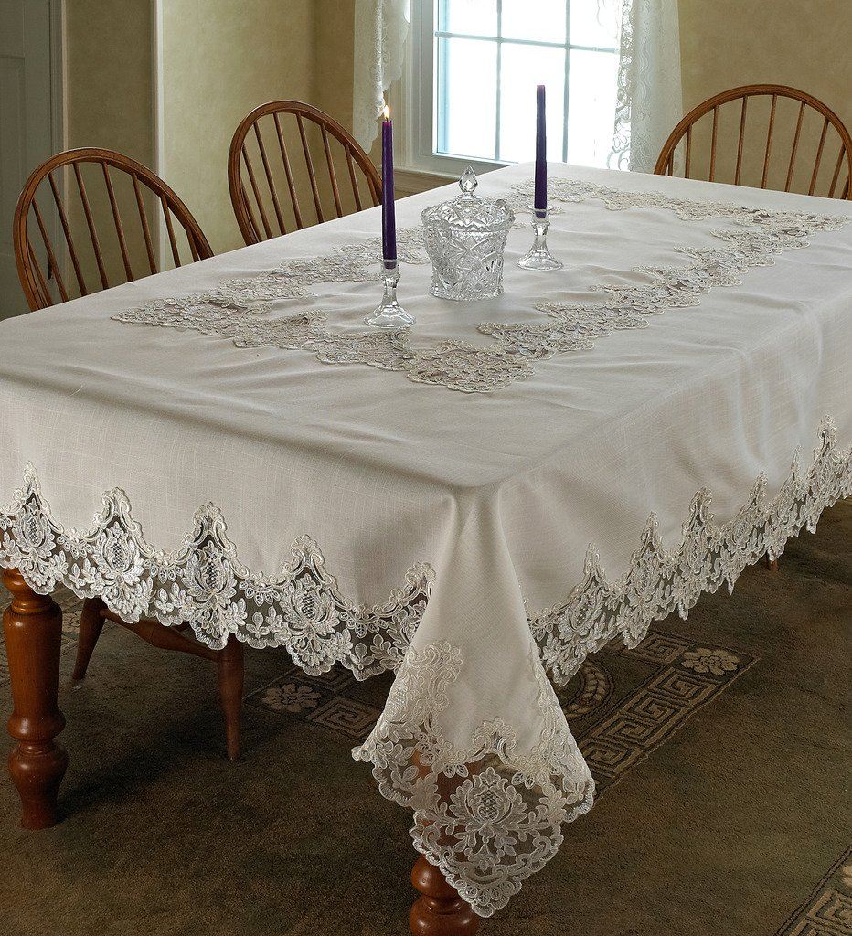 Amazon Violet Linen Imperial Embroidered Vintage Lace Design Tablecloth 60 X 90 White Home Kitchen