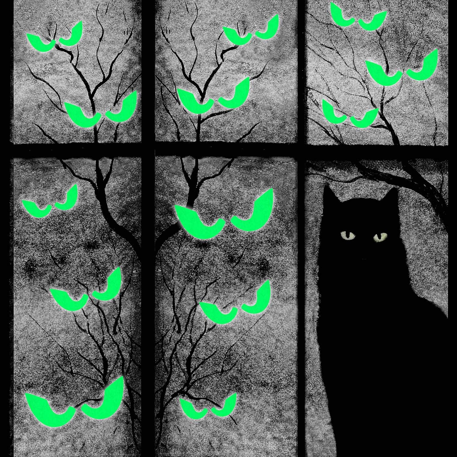 Boao 36 Pieces Halloween Luminous Wall Stickers Removable Fluorescent Sticker Peeping Eyes Stickers Glow in The Dark Window Wall Decals for Halloween Carnival Vampire Door Decorations