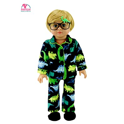 American Fashion World Green Yellow Dino Pajamas for Boys Made for 18-inch Dolls fits 18-inch American Dolls and More: Toys & Games