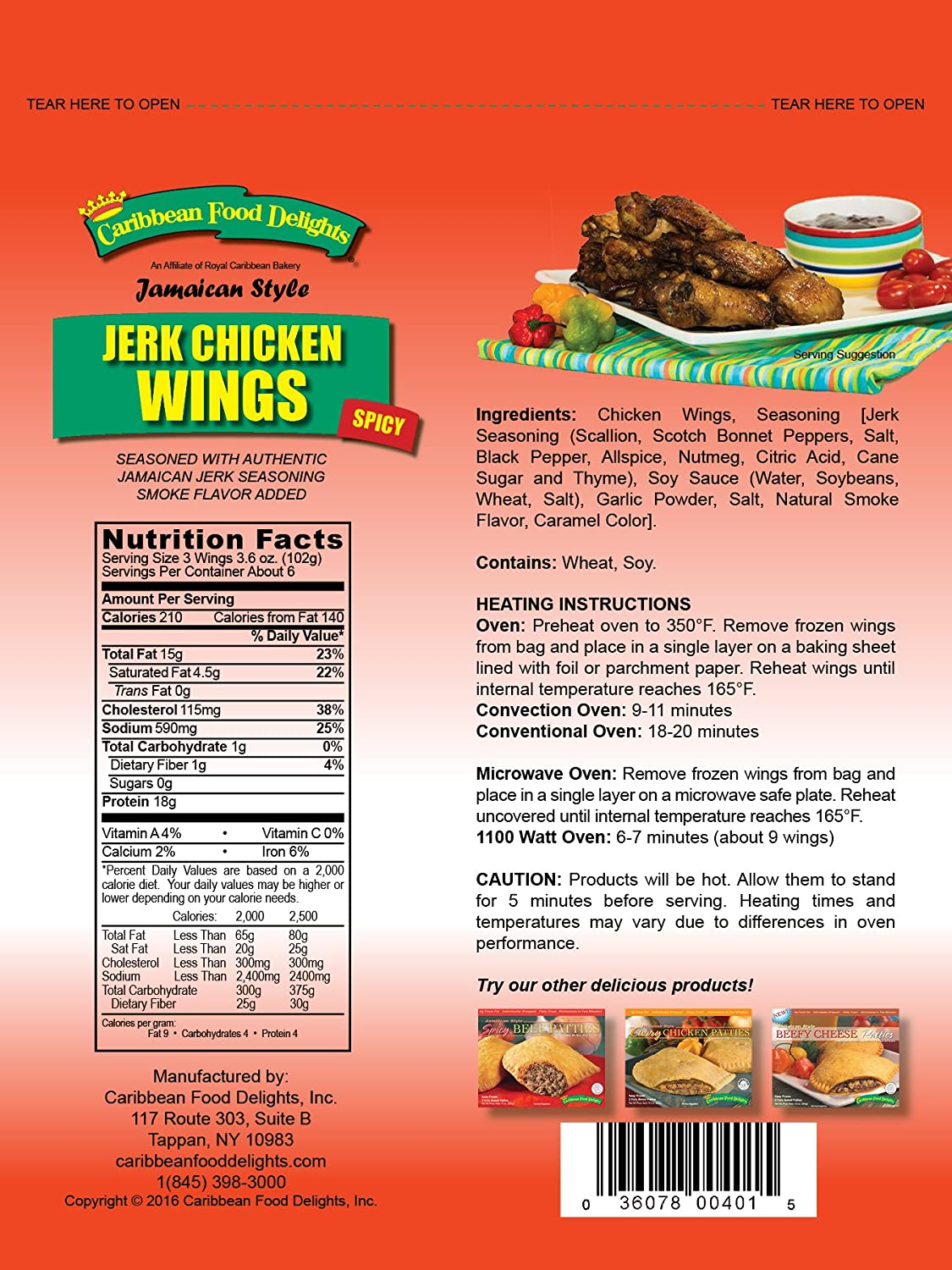 jamaican style jerk chicken wings fully cooked spicy 6 bags of