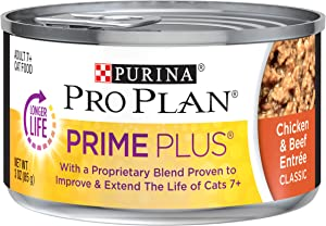 Purina Pro Plan Senior Pate Wet Cat Food, PRIME PLUS Chicken & Beef Entree - (24) 3 oz. Pull-Top Cans