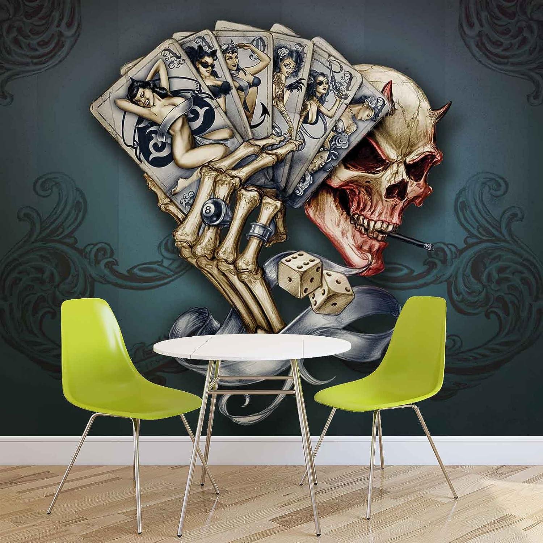 Totenkopf Würfel Karten - Forwall - Fototapete - - - Tapete - Fotomural - Mural Wandbild - (1347WM) - XXL - 312cm x 219cm - VLIES (EasyInstall) - 3 Pieces B01JRR6L9U Wandtattoos & Wandbilder e05a8f