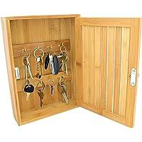 Taylor & Brown® Bamboo Wall Mounted Key Box & Brackets Cupboard Hooks Holder Storage Cabinet