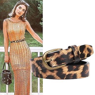 de1dc8a687d4a Image Unavailable. Image not available for. Color  Leopard Print Leather  Belt Women s Cowhide Leather Ladies Waist ...