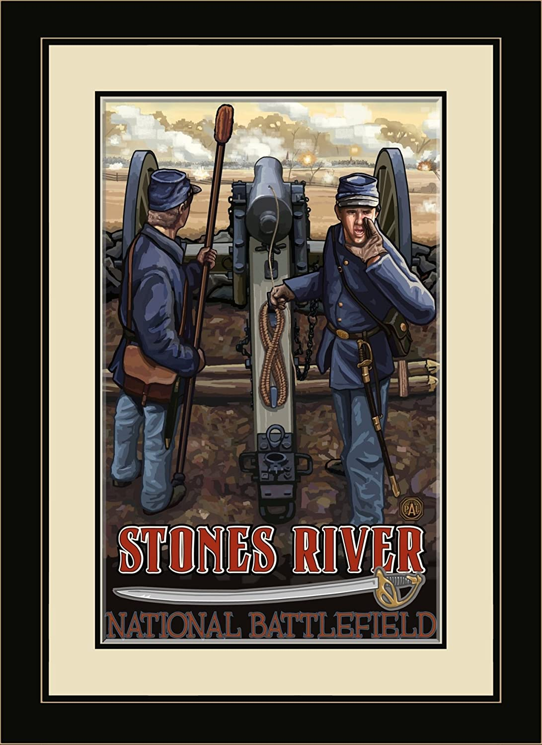 Northwest Art Mall pal-3816 mfgdm Stones River National Battlefield Bürgerkrieg Cannon gerahmtes Wandbild Art von Künstler Paul A lanquist 33 x 40,6 cm Satin schwarz
