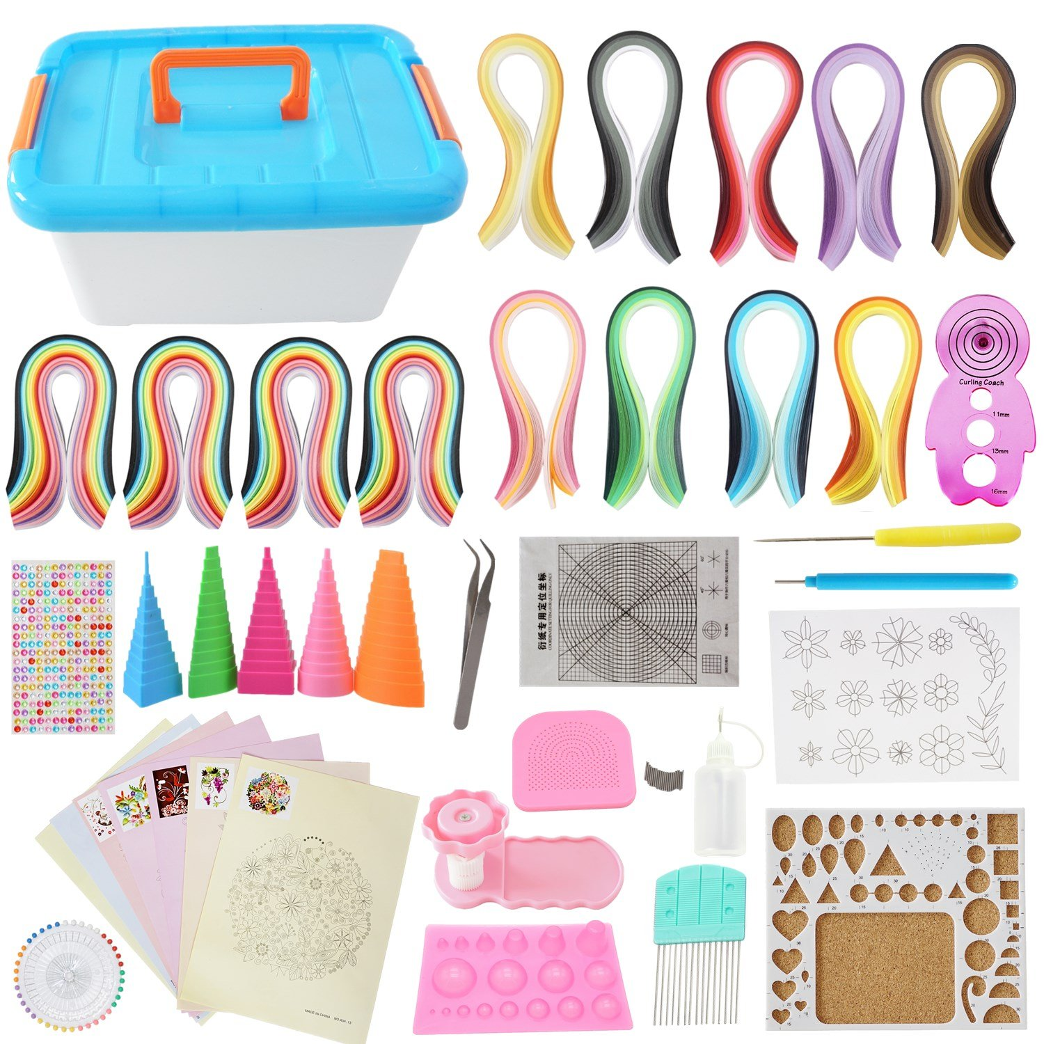 All-in-One Quilling Kit Complete Quilling Paper Set with 1940 Strips + Necessary Tools + Storage Box Suitcase for Beginners, Advanced Quiller, Kids and Adults Moumou