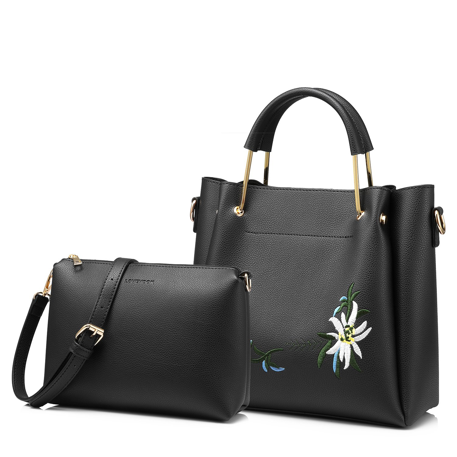 Amazon.com  Tote Bag Top Handle Handbags Designer Purse for Women Shoulder Bag  Flower Embroidery 2 PCS Set Black  Shoes