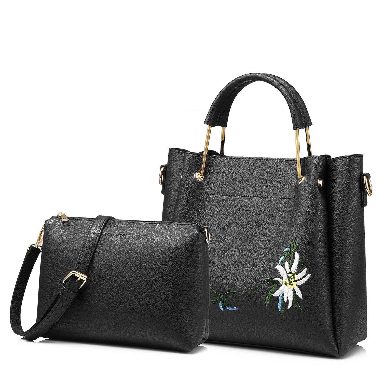 Amazon.com  Tote Bag Top Handle Handbags Designer Purse for Women Shoulder  Bag Flower Embroidery 2 PCS Set Black  Shoes 2cad429c86de