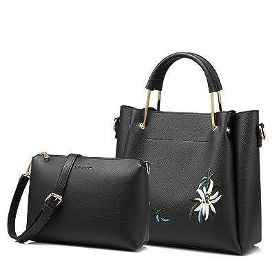 Amazon.com  Tote Bag Top Handle Handbags Designer Purse for Women Shoulder  Bag Flower Embroidery 2 PCS Set Black  Shoes 32c470e18ecf8