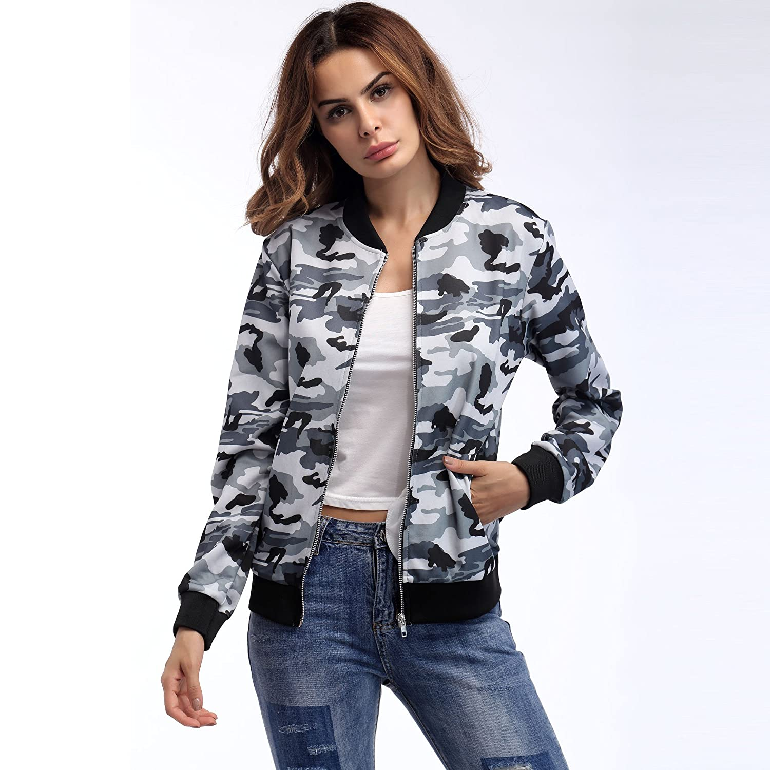 BOFUTE Womens Casual Stand Collar Long Sleeve Zip Up Jacket Coat with Pockets
