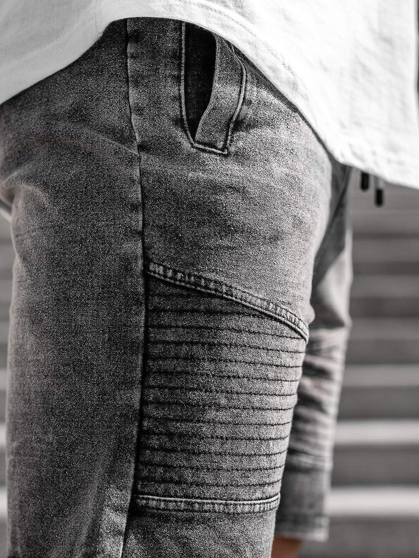 con Stemma da Uomo Mix 7G7 con Stampe con sovraimpunture con Patch BOLF Pantaloncini di Jeans con Coulisse