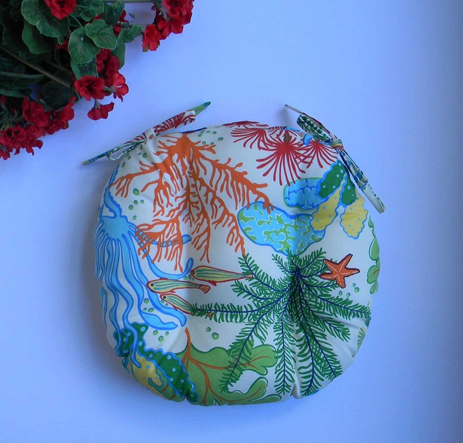 Resort Spa Home Decor Indoor Outdoor Round Tufted Bistro Cushion with Ties – Orange, Turquoise, Green, Yellow Splish Splash Whimsical Tropical Fish Fabric – Choose Size 18