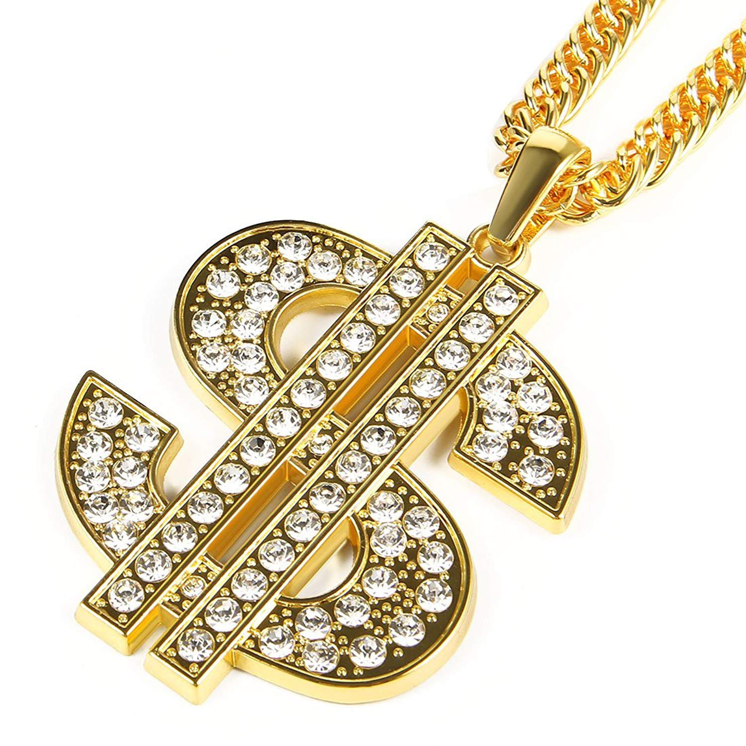 Amazon.com  Bruce Brother Men Gold Plated Chain Necklace Dollar Sign  Pendant Costume Hip Hop Jewelry  Jewelry 0829a6b42d52
