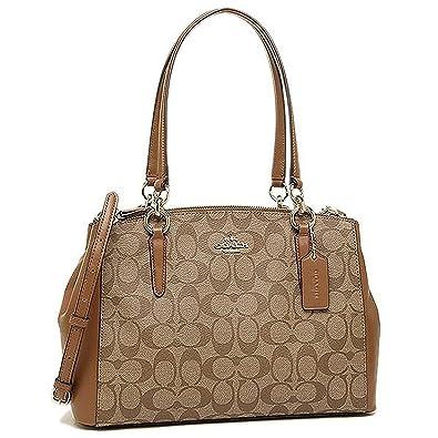 10e779a02b6d7 COACH F58291 SIGNATURE SMALL CHRISTIE CARRYALL HANDBAG Khaki  Saddle   Handbags  Amazon.com