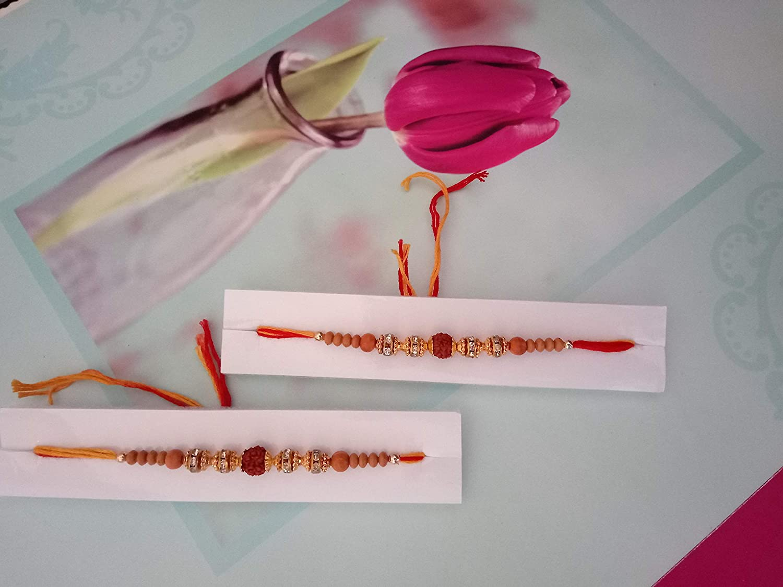 Sacred Knots Precious Rakhi for Your Beloved Brother on Raksha Bandhan - Set of 2 Traditional Rakhi for Bhai with Rudraksh Elegant Designer Rakhi 2 Pack Incredible India