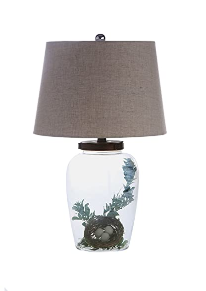 Creative Co Op Glass Fillable Table Lamp With Shade, 13u0026quot; Round By  23u0026quot