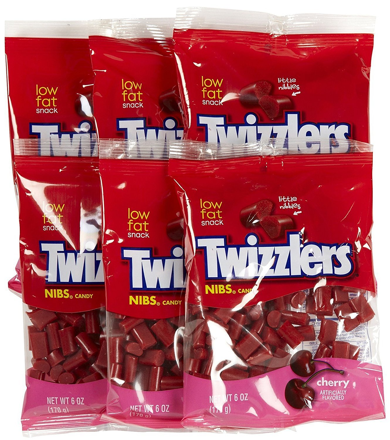 Twizzlers Cherry Nibs Peg Bag, 6 Oz (Pack of 6)