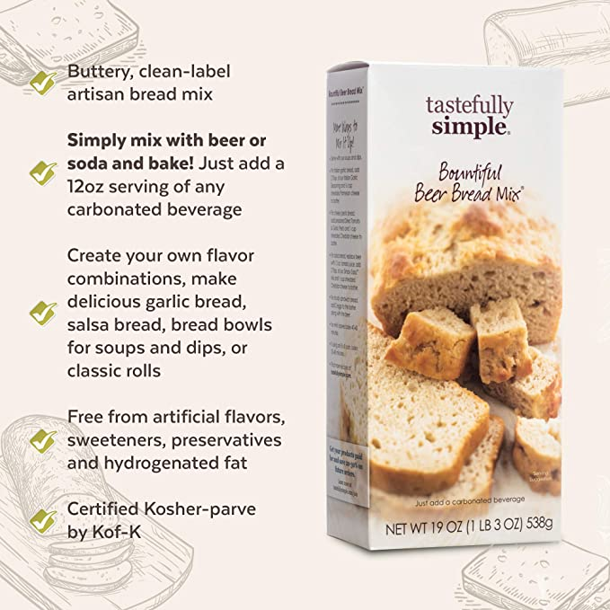 Tastefully Simple Bountiful Beer Bread Mix - Incredibly Easy to Make, Just  Add Beer or Soda! - No Bread Machine Needed - Nothing Artificial - 9 oz