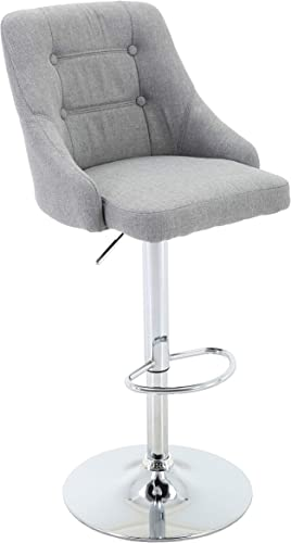 Brage Living Adjustable Height Bar Stool Tufted Fabric Upholstered Round Back Barstool