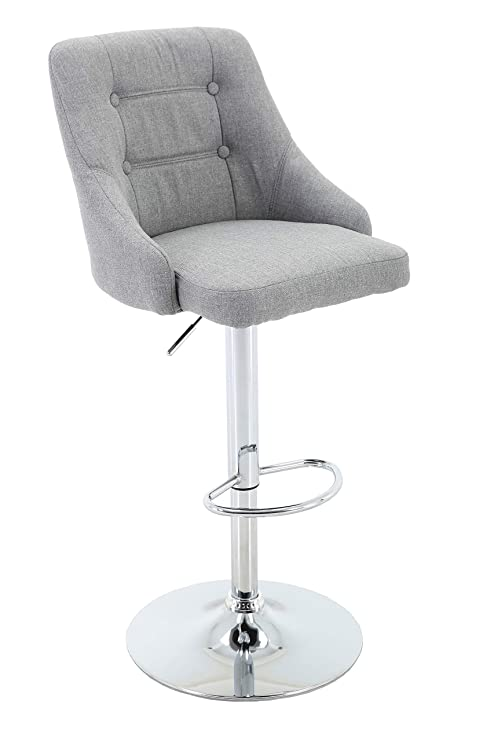 Marvelous Brage Living Adjustable Height Tufted Upholstered Round Back Barstool With Footrest Light Grey Machost Co Dining Chair Design Ideas Machostcouk