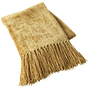 Pier 1 Imports Gold Chenille Throw Blanket