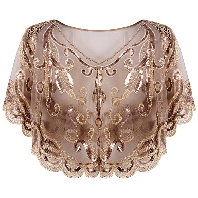 c4d4cc4fd9b Vijiv Women s Vintage 1920s Shawl Sequins Bolero Shrugs Flapper Cover up  for Evening Dresses