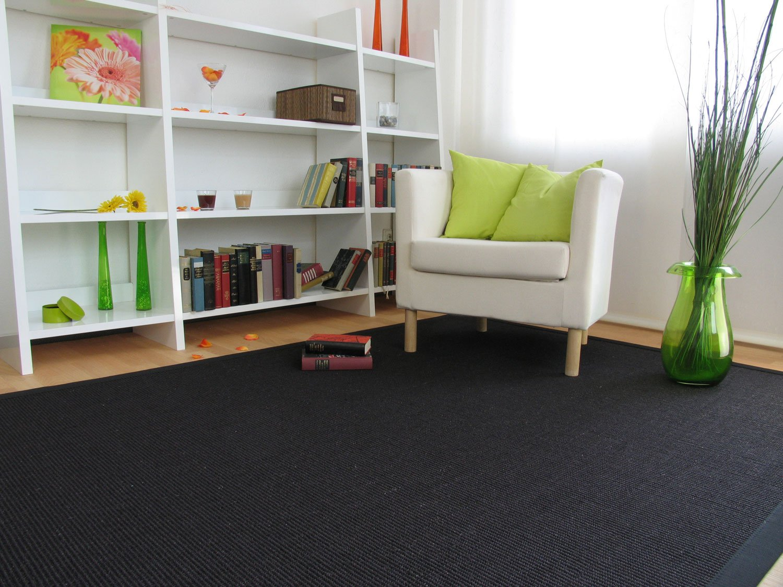 Astra Sisal Teppich Manaus mit Bordüre Farbe schwarz 100% Sisal - 18 Größen, Größe  300x400 cm