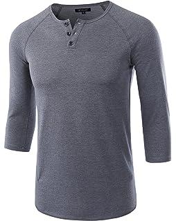 3f4bc6279a7 HETHCODE Men s Casual Raglan Fit Soft Baseball 3 4 Sleeve Henley T-Shirts  Tee