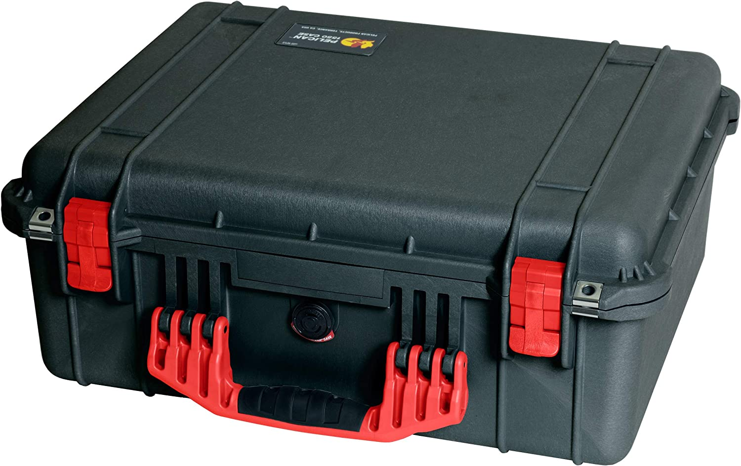 Black /& Red Pelican 1550 Case Comes with Grey CVPKG dividers.